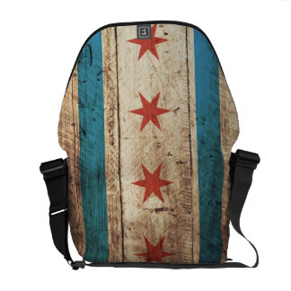 Chicago Flag on Old Wood Grain Messenger Bag