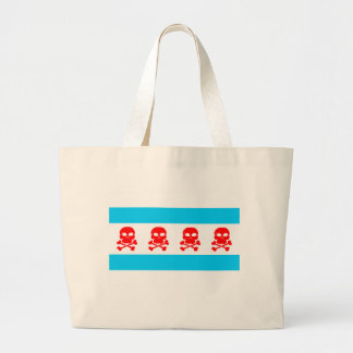 Chicago Flag Skulls Stuff Jumbo Tote Bag