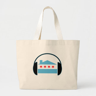 Chicago House Flag Headphones Jumbo Tote Bag