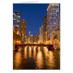 Chicago, Illinois, Skyline and Chicago River at Greeting Card