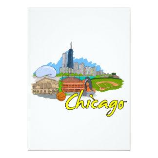 Chicago - Illinois - United States of America.png 13 Cm X 18 Cm Invitation Card