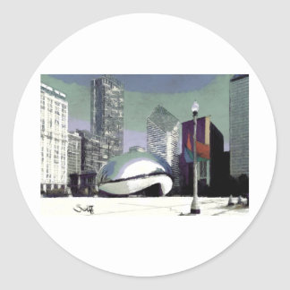 Chicago Millennium Park Round Sticker