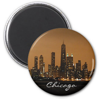 Chicago Skyline at night at John Hancock Center 6 Cm Round Magnet