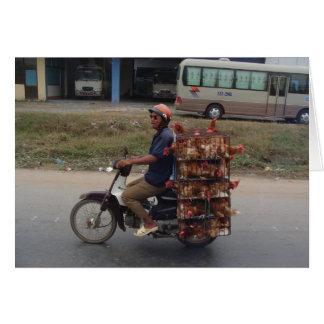 Chickens on Motorbike-Vietnam Greeting Card