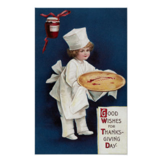 Child Chef with Mince Pie Vintage Thanksgiving Poster