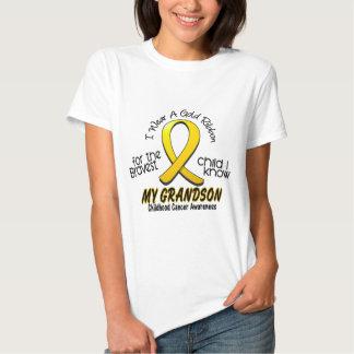 Childhood Cancer I Wear Gold Ribbon For Grandson Tshirt