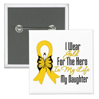 Childhood Cancer Ribbon My Hero My Daughter 15 Cm Square Badge