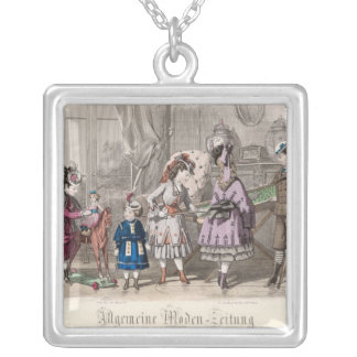 Children at Play Square Pendant Necklace