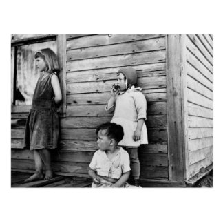 Children in Poverty: 1930s Postcard