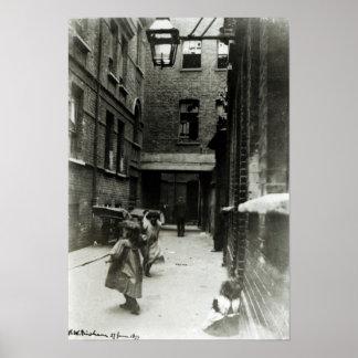Children playing in a slum, 1899 poster