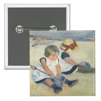 Children Playing on the Beach, 1884 15 Cm Square Badge