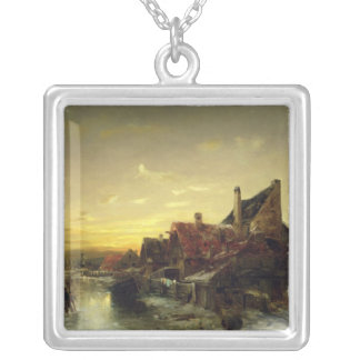 Children Playing on the Ice Square Pendant Necklace