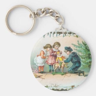 Children Playing with Toys on Christmas Basic Round Button Key Ring