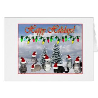 Chinchilla Santas Decorating Tree Greeting Card