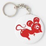 Chinese Astrology Rat Illustration Basic Round Button Key Ring