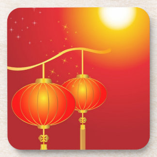 Chinese red paper lanterns with full moon beverage coasters