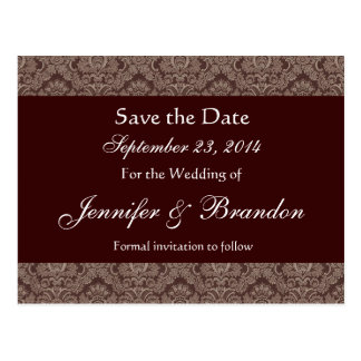 Chocolate Brown Damask Save The Date Postcard