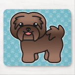 Chocolate Colour Cartoon Havanese Mouse Pad