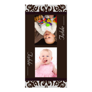 Chocolate Damask  Bride & Groom Photo Table Cards Photo Card