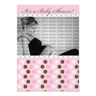 Chocolate Darling Pink Dots Baby Shower Invitation