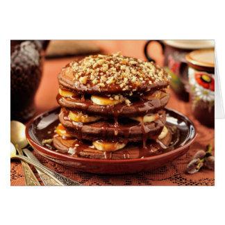 Chocolate Pancakes with Bananas and Caramel Greeting Card