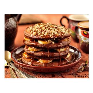 Chocolate Pancakes with Bananas and Caramel Postcard