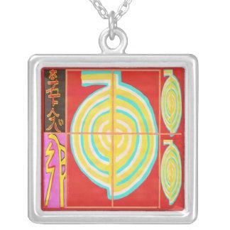CHOKURAY Gold with Reiki Symbols Square Pendant Necklace