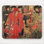 Choosing the Red and White Roses in Temple Mouse Pad