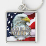 CHRISTIAN AMERICAN DESIGNS Silver-Colored SQUARE KEY RING