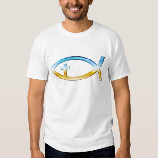 Christian Fish Symbol with Crucifix - Sky & Ground Tee Shirts