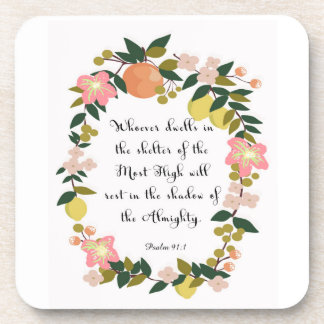 Christian inspirational Art - Psalm 91:1 Drink Coasters