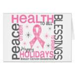 Christmas 4 Breast Cancer Snowflakes Greeting Card