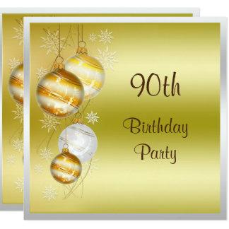 Christmas Baubles & Stars 90th Birthday 13 Cm X 13 Cm Square Invitation Card