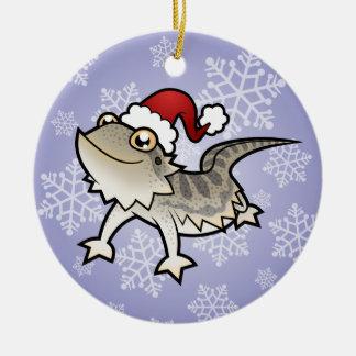 Christmas Bearded Dragon / Rankins Dragon Round Ceramic Decoration