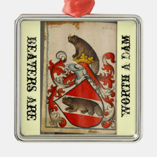 Christmas beaver Silver-Colored square decoration