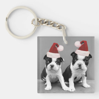 Christmas Boston Terrier puppies Single-Sided Square Acrylic Key Ring
