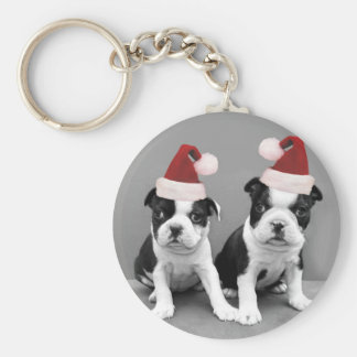 Christmas Boston Terriers Basic Round Button Key Ring