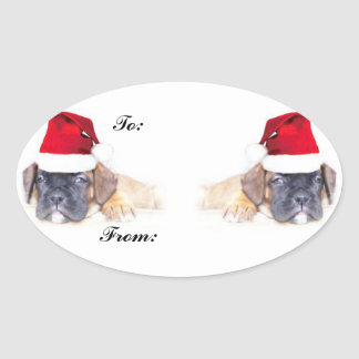 Christmas boxer puppies gift tag sticker