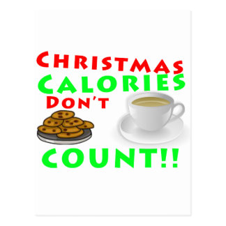 Christmas Calories Don't Count Humor Funny Postcard