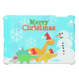 Christmas Cartoon Dinosaurs & Snowman iPad Case