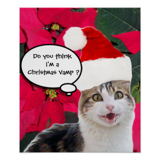 CHRISTMAS CAT WITH SANTA CLAUS HAT AND POINSETTIAS POSTER