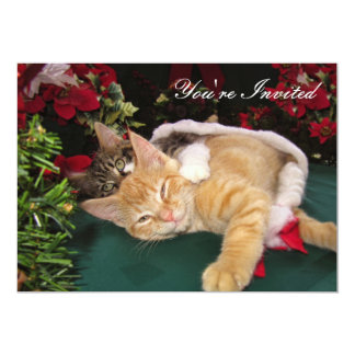 Christmas Cats, Cute Kittens Hugging, Kitty Smile 13 Cm X 18 Cm Invitation Card