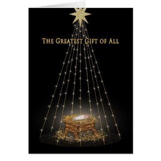 CHRISTMAS - CHRISTIAN - MANGER/STARS GREETING CARD