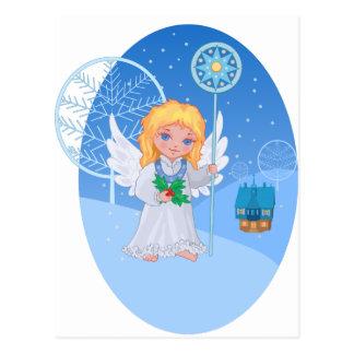 Christmas cute cartoon angel with blue star staff postcard