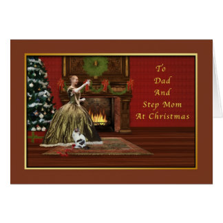 Christmas, Dad and Step Mom, Old Fashioned Greeting Card