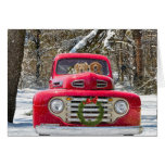 Christmas dogs in old truck greeting card