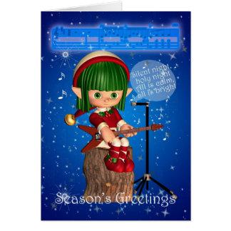 Christmas Elf Singing Silent Night Greeting Card