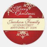 Christmas Family Address Round Sticker