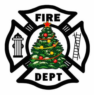 Christmas Firefighter Photo Sculpture Decoration