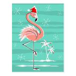 Christmas Flamingo Stripe postcard